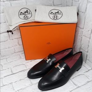 Hermès black leather loafers